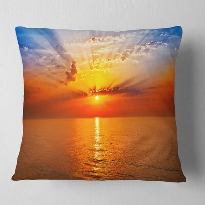 Sea Sunrise Under Sky Seashore Pillow Size: 26 x 26, Product Type: Euro Pillow