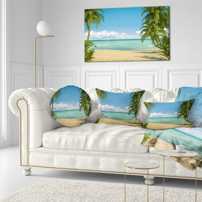 Palms at Caribbean Beach Seashore Photo Throw Pillow Size: 16 x 16