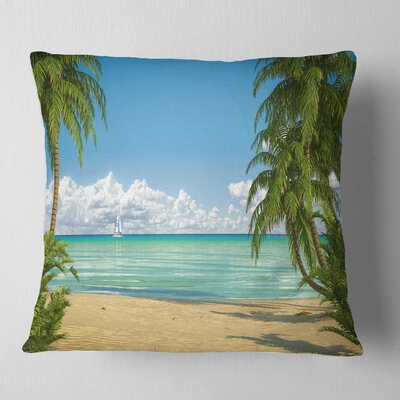 Palms at Caribbean Beach Seashore Photo Pillow Size: 18 x 18, Product Type: Throw Pillow