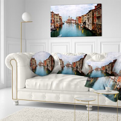 Grand Canal at Sunset Landscape Photography Throw Pillow Size: 20 x 20