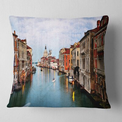 Grand Canal at Sunset Landscape Photography Pillow Size: 16 x 16, Product Type: Throw Pillow