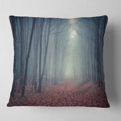 Misty Path in Forest Landscape Photography Pillow Size: 16 x 16, Product Type: Throw Pillow