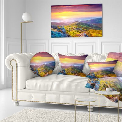 Rhododendron Flowers in Hills Landscape Photography Throw Pillow Size: 16 x 16