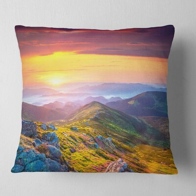 Rhododendron Flowers in Hills Landscape Photography Pillow Size: 16 x 16, Product Type: Throw Pillow