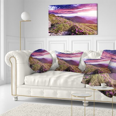 Rhododendron Flowers in Hills Landscape Photo Throw Pillow Size: 20 x 20
