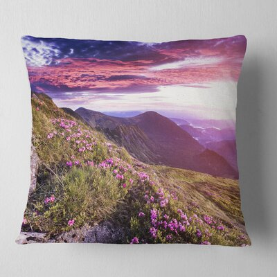 Rhododendron Flowers in Hills Landscape Photo Pillow Size: 16 x 16, Product Type: Throw Pillow