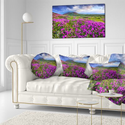 Rhododendron Flowers in Mountains Landscape Photography Throw Pillow Size: 16 x 16
