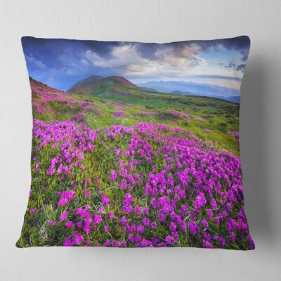 Rhododendron Flowers in Mountains Landscape Photography Pillow Size: 16 x 16, Product Type: Throw Pillow
