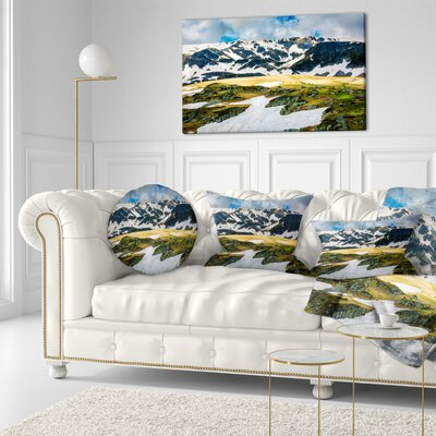 Rila Lakes and Mountains in Bulgaria Landscape Printed Throw Pillow Size: 20 x 20