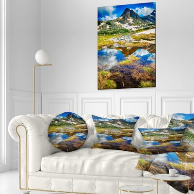 Rila Lakes District with Reflection Landscape Printed Throw Pillow Size: 16 x 16