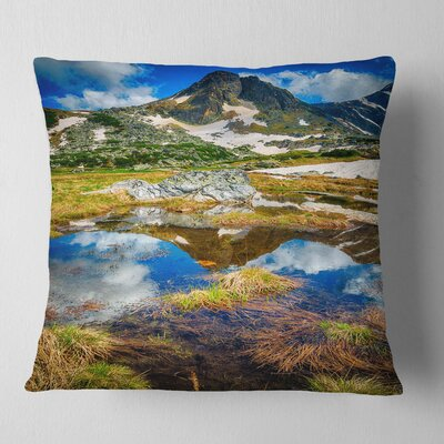 Rila Lakes District with Reflection Landscape Printed Pillow Size: 16 x 16, Product Type: Throw Pillow