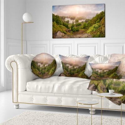 Rising Above the River Mist Landscape Photo Throw Pillow Size: 16 x 16