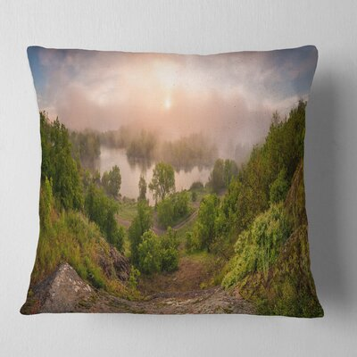Rising Above the River Mist Landscape Photo Pillow Size: 18 x 18, Product Type: Throw Pillow