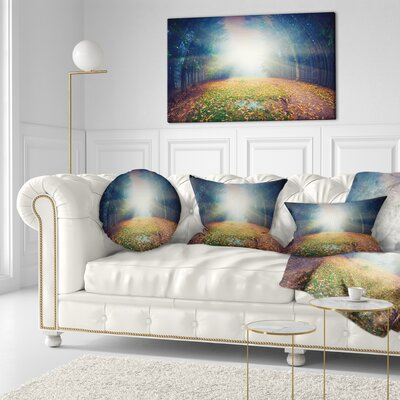 Rising Sun over Arched Forest Landscape Photo Throw Pillow Size: 20 x 20
