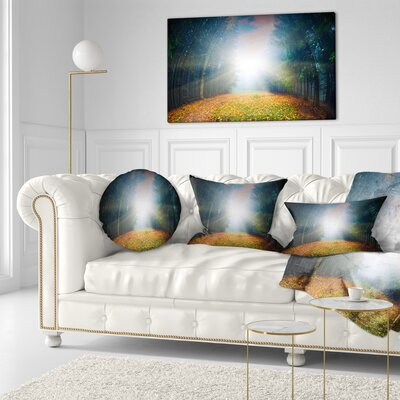 Rising Sun over Forest Landscape Photo Throw Pillow Size: 20 x 20