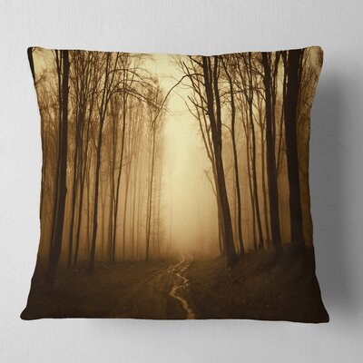 Road in Forest with Fall Fog Landscape Photo Pillow Size: 16 x 16, Product Type: Throw Pillow
