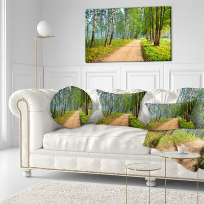 Road in Morning Forest Landscape Photo Throw Pillow Size: 16 x 16