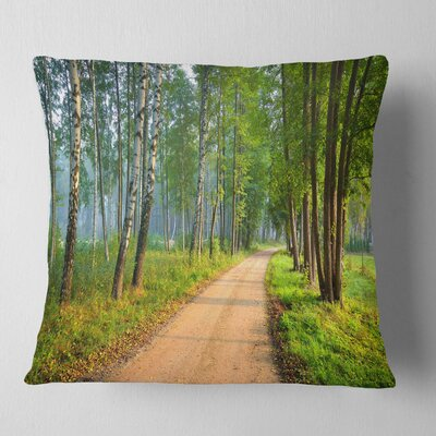 Road in Morning Forest Landscape Photo Pillow Size: 18 x 18, Product Type: Throw Pillow