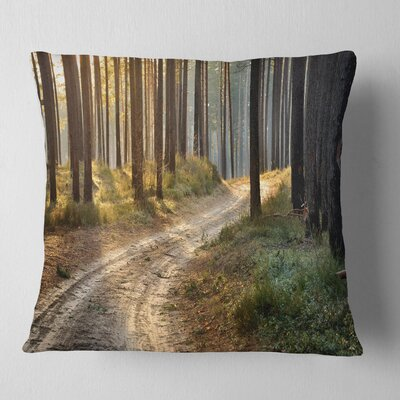 Road in Thick Morning Forest Landscape Photo Pillow Size: 16 x 16, Product Type: Throw Pillow