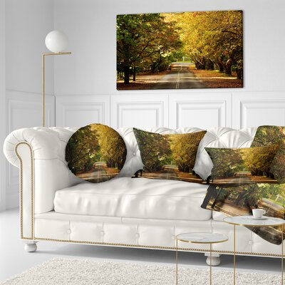Road Through Beautiful Trees Landscape Printed Throw Pillow Size: 20 x 20