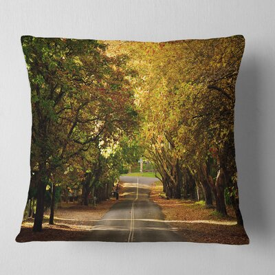 Road Through Beautiful Trees Landscape Printed Pillow Size: 18 x 18, Product Type: Throw Pillow
