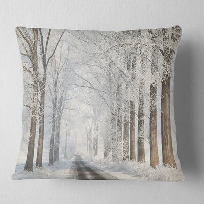 Road Through Frosted Forest Landscape Photo Pillow Size: 16 x 16, Product Type: Throw Pillow