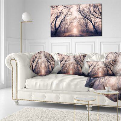 Road Through Mystical Dark Forest Landscape Photography Throw Pillow Size: 16 x 16