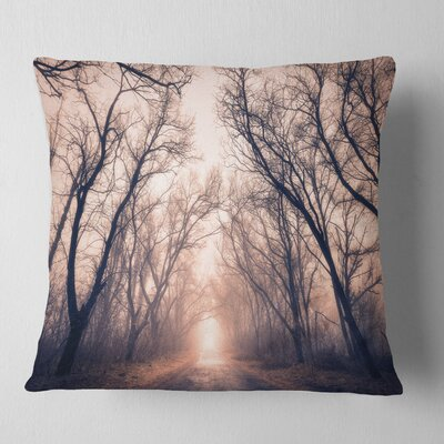 Road Through Mystical Dark Forest Landscape Photography Pillow Size: 18 x 18, Product Type: Throw Pillow