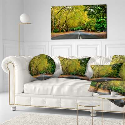 Road Through Stunning Greenery Landscape Printed Throw Pillow Size: 16 x 16