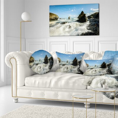 Roaring Atlantic Rocky Coast Seascape Throw Pillow Size: 20 x 20
