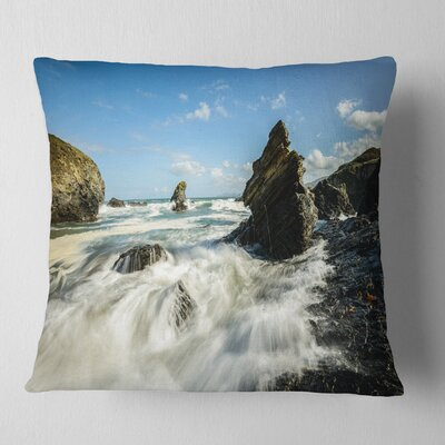 Roaring Atlantic Rocky Coast Seascape Pillow Size: 16 x 16, Product Type: Throw Pillow