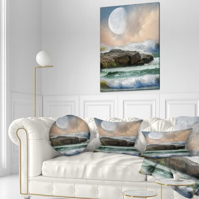 Roaring Ocean Under Large Moon Seascape Photography Throw Pillow Size: 16 x 16