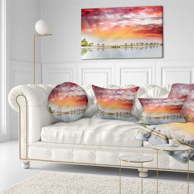 Roatan Beach Sunset Panorama Seashore Photo Throw Pillow Size: 20 x 20