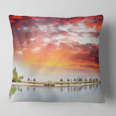 Roatan Beach Sunset Panorama Seashore Photo Pillow Size: 26 x 26, Product Type: Euro Pillow