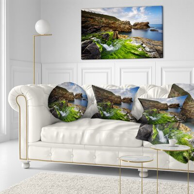 Rocks and Waterfall in Spanish Coast Seashore Photo Throw Pillow Size: 16 x 16