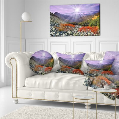 Rocky and Carpathian Landscape Photo Throw Pillow Size: 20 x 20