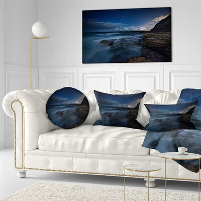 Rocky Ocean at Nighttime Seashore Throw Pillow Size: 16 x 16