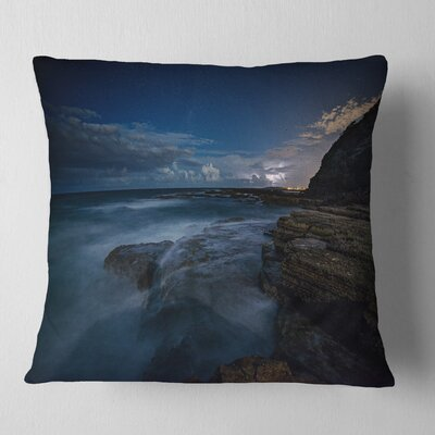 Rocky Ocean at Nighttime Seashore Pillow Size: 18 x 18, Product Type: Throw Pillow