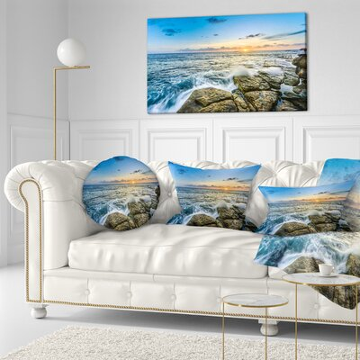 Rocky Coogee Beach in Sydney Seashore Throw Pillow Size: 16 x 16