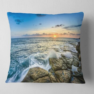 Rocky Coogee Beach in Sydney Seashore Pillow Size: 16 x 16, Product Type: Throw Pillow