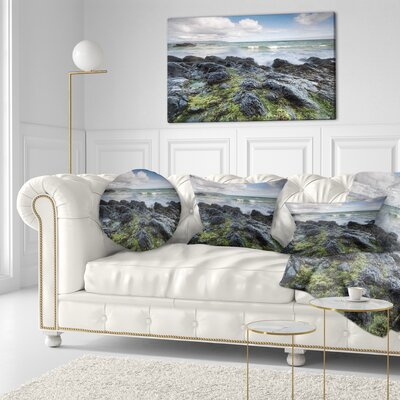 Rocky North Ireland Seashore Photography Throw Pillow Size: 16 x 16