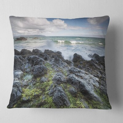 Rocky North Ireland Seashore Photography Pillow Size: 18 x 18, Product Type: Throw Pillow