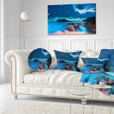 Rocky Sea with Long Exposure Seashore Photo Throw Pillow Size: 20 x 20