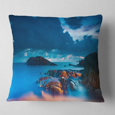 Rocky Sea with Long Exposure Seashore Photo Pillow Size: 16 x 16, Product Type: Throw Pillow
