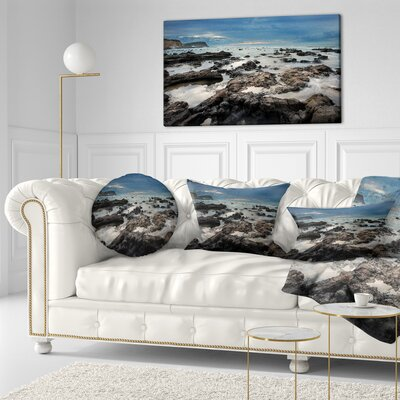 Rocky Seashore with Sky over Throw Pillow Size: 16 x 16