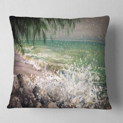 Rocky Seashore with Waves Pillow Size: 16 x 16, Product Type: Throw Pillow