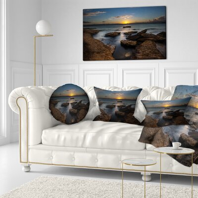 Rocky Sydney Beach at Sunset Seascape Throw Pillow Size: 16 x 16