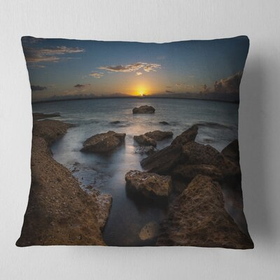 Rocky Sydney Beach at Sunset Seascape Pillow Size: 18 x 18, Product Type: Throw Pillow