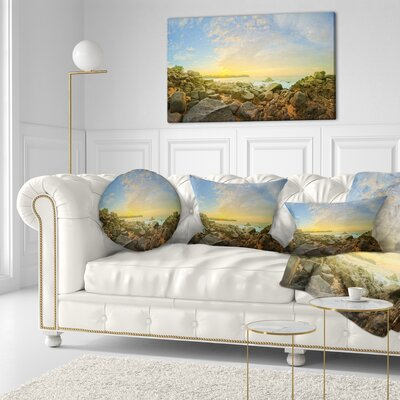 Rocky Untouched Romantic Seashore Throw Pillow Size: 20 x 20
