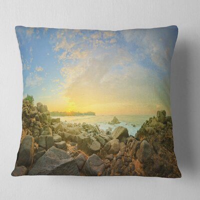 Rocky Untouched Romantic Seashore Pillow Size: 16 x 16, Product Type: Throw Pillow